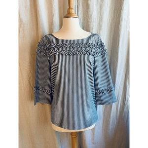 Talbots Tops - NWT Talbots Gray & White Striped Blouse, Medium